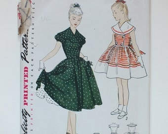 Simpicity Vintage Sewing Dress Pattern 3784 A 1950's girls one piece dress and petticoat full circle bridesmaid flower girl wedding size 10