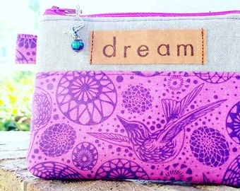 Purple Coin Purse, Tula Pink, Hummingbird Coin Pouch, Small Zip Pouch, Accesory Pouch, Credit Card Holder, Dream Stamp