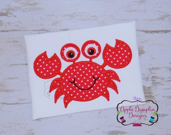 Cute Crab Applique Design, Machine Embroidery Design, Boy Applique Design, Summer Embroidery, Girl, Spring, Beach, Vacation, 5x7, 6x10