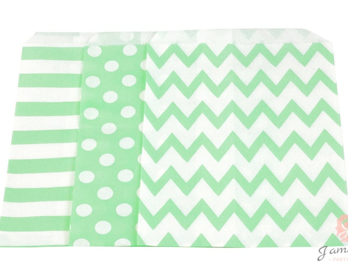 5x7 Mint Green Treat bags in Chevron Dot and Stripe , Mint Green Vintage Christmas Treat Bags, Candy Chevron Bags, Kids Birthday, Paper Bags