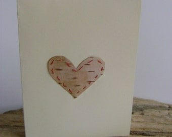 Birchbark Card With Heart