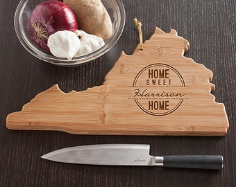 Virginia State Shaped Cutting Board, Engraved Virginia Shaped Cutting Board