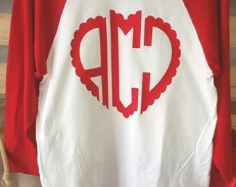Valentines, Scalloped, Heart, Monogram, Valentines,  Raglan Shirt