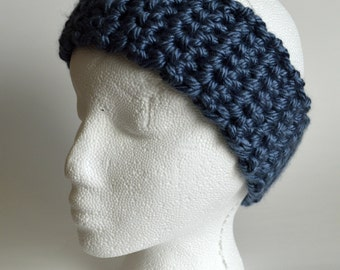 Blue Grey Crochet Head Warmer, Denim Blue, Crocheted Headband, Chunky Headband, Ear Warmer, Head Wrap, Earwarmer, Winter Headband, Women's