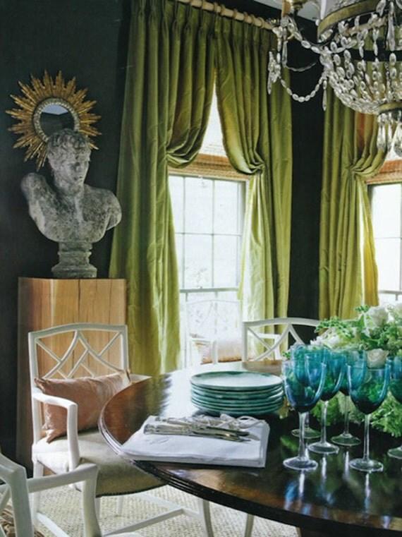 Lime Green Silk Curtain Dupioni Silk Window By