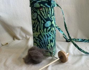 Drop Spindle Bag, Green Print