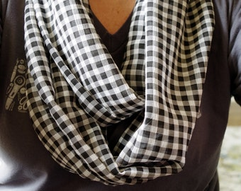 black and white gingham lightweight infinity scarf