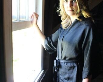Black 100% Silk Kimono Robe
