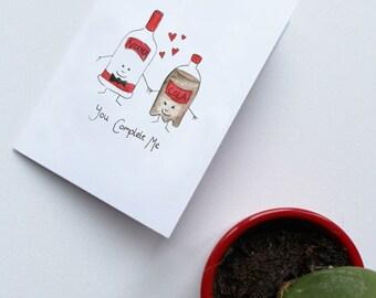 Celebration card - vodka & cola, you complete me