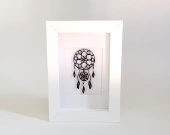 Dreamcatcher Art, Paper Quilling Art Frame, Quilled Art Frame, Quilled Dreamcatcher, Home Decor, Framed Art, Frame Ornament, Paper Art Frame