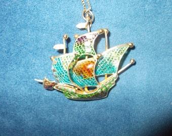 Solid sterling silver gold wash enamel schooner ship pendant