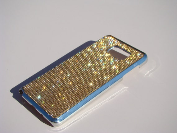 Galaxy Note 5 Gold Topaz Rhinestone Crystals on Silver Chrome Case. Velvet/Silk Pouch Bag Included, Genuine Rangsee Crystal Cases.