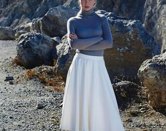 White Skirt, High Waist Skirt, Bridesmaid Skirt, Midi Skirt, A Line Skirt, Plus Size Skirt, Casual Skirt, Loose Skirt, Chic Skirt