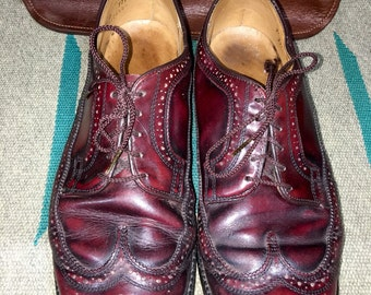 Vintage Dexter Imperial Brogue Wingtips Burgundy Leather Men's Dress Shoes Size 9.5D--Made in the USA