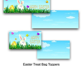 Easter Treat Bag Toppers, Easter, Easter Bunny, Bag Topper, Candy Bag Topper, Treat Bag Topper, Printable, Instant Download, Party Favor