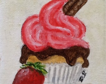 Acrylic paint, acrylic painting, cake, chocolate, strawberry/cupcake