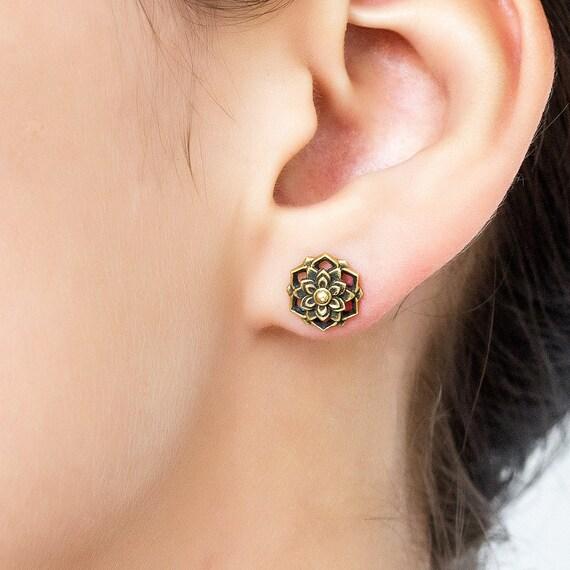 Flower Mandala stud earring. tribal earrings. flower earrings. mandala. lotus earrings. lotus stud earrings. mandala earrings. boho earrings