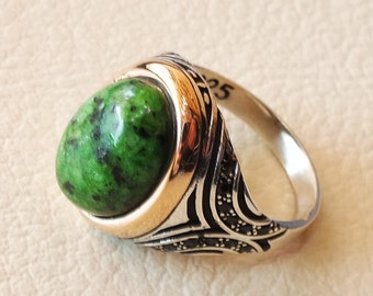 Gongunjula green agate aqeeq natural semi precious stone indian gem sterling silver 925 man ring copper bronze frame and pave setting zircon