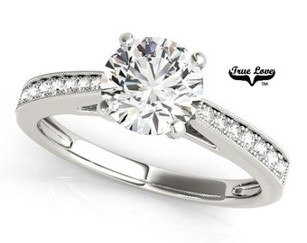 Moissanite Engagement Ring 14kt White Gold, Forever One, Wedding Ring, Side Diamonds #7532