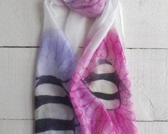 Silk scarf, Luxury scarf, hand made scarf, hand painted scarf, bumble bee, bee scarf, bridesmaid gift