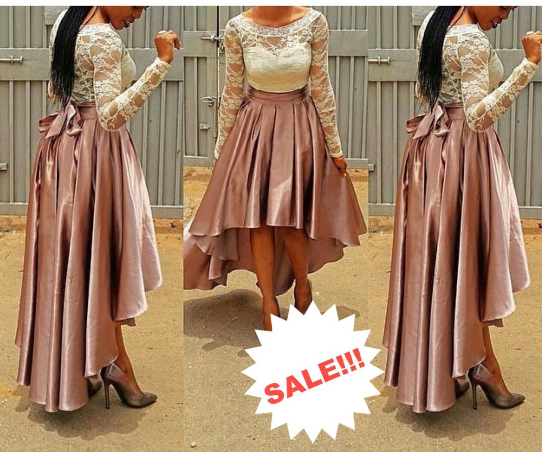 Sale silk high low skirt silk pleated skirt by for High low wedding dress patterns
