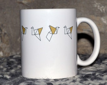 The mug small cranes Origami way Golden Cup customizable Christmas gift