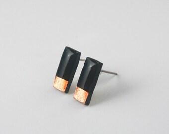 Tiny Black Rectangle Studs, Black Studs, Bar Stud Earrings Copper, Hypoallergenic Nickel Free Titanium Jewelry, Stocking Stuffer