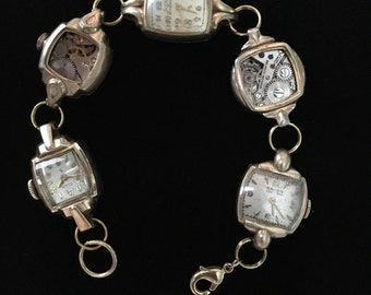 Women's Steampunk Multiple Vintage Watch Gear BRACELET