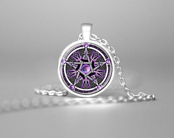 PURPLE WICCAN PENTAGRAM Necklace Wiccan Pendant Pentagram Jewelry Wiccan Necklace Pagan Religion Wiccan Jewelry Pentagram Pendant Pentacle
