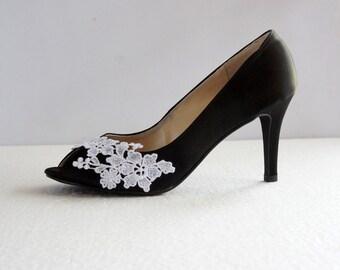 black satin white lace wedding shoes black wedding heel flower lace bridal shoes