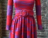 Rudi Gernreich 1960's body con long sleeve wool color block geometric design full skirt dress w/matching belt x-RARE Mod PEGGY MOFITT