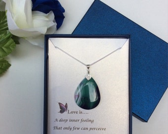 Sterling Silver Necklace w/ Green Madagascar Agate Gemstone Pendant and poem