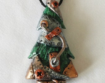 Miniature steampunk Christmas tree necklace