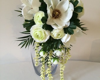 Magnolia Silk Teardrop Bridal Bouquet