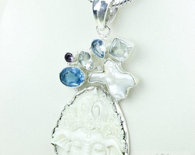 Hindu God Ganesha DEER ANTLER TOTEM Goddess Face Moon Face Bone Carving 925 S0LID Sterling Silver Pendant + 4MM Chain p3833