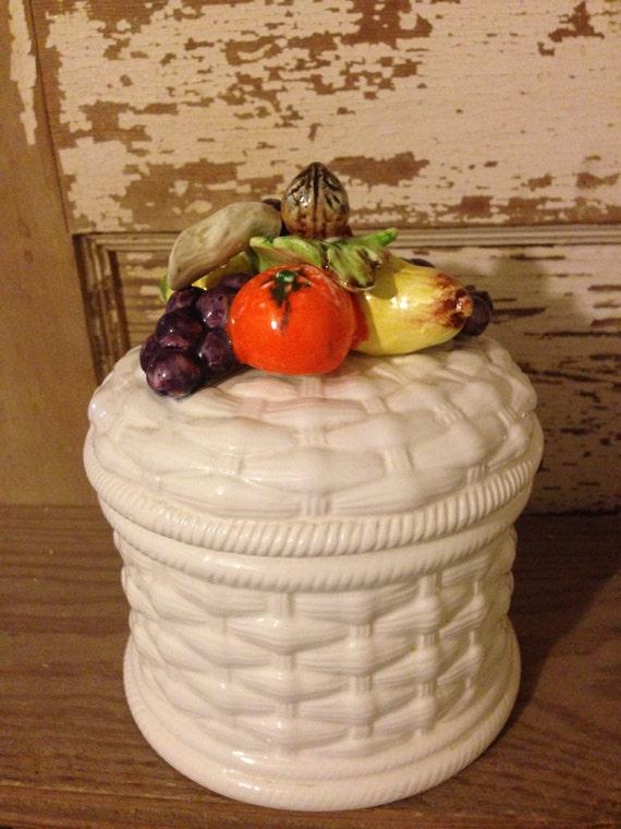 vintage ceramic fruit basket canister cottage kitchen canister