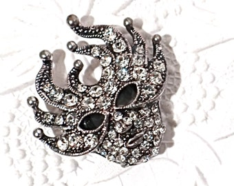 Rhinestone Jester Face Bead Jewelry Supplies Embellishments RB-129