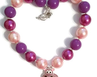 SALE Pink Hippo Necklace Chunky Necklace Pink Bubblegum Necklaces Purple Bubblegum Necklace Pink and Purple Hippo Necklace Birthday Gift