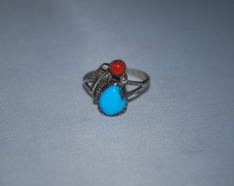 Sterling silver ring size 7.5 with turquoise and coral.
