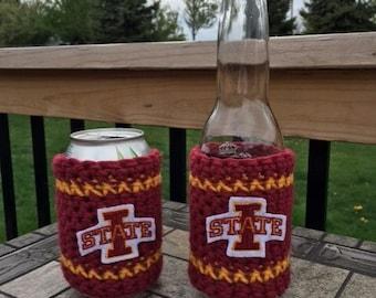 Iowa State crochet can/bottle cozy