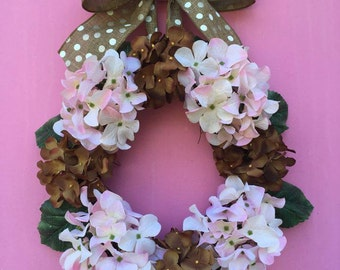 Spring Door Decor, Summer Door Decor, Hydrangea Wreath, Pink Wreath, Year  Round