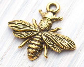 2 Pc Queen Bee With Crown Charm, Antique Gold , 21x25 mm, Made in the USA, AB51