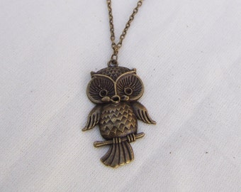 Charm necklace with bronze OWL