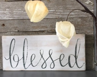 Wood Blessed Sign | Blessed Wood Sign | 4x9""