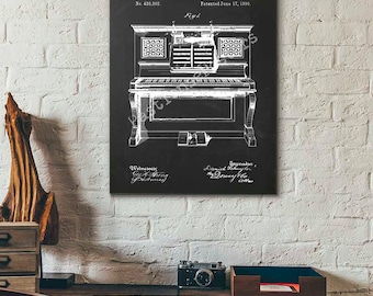 Patent Print - Piano Patent Poster - Piano Player - Piano Poster - Framed Poster - Canvas Print