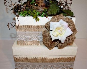"WEDDING, Burlap and Lace Wedding Card Box, ""A Bit of Nature"", Bird in a Nest Wedding Reception Box, Wedding Box, Keepsake Box,"