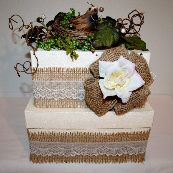 Wedding Card Boxes For Receptions: Burlap And Lace Wedding Card Box A Bit Of Nature