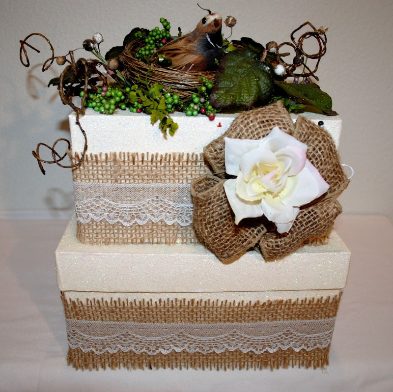 Wedding Card Boxes For Receptions: WEDDING Burlap And Lace Wedding Card Box A Bit Of