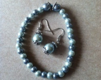 Blue Beaded Bracelet & Earring Set