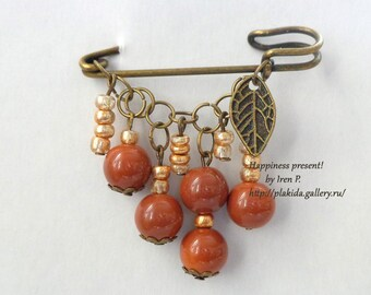 brown safety pin brooch,ACTION !!! 1 + 1 = 3 If you order two brooches, you get third one for free!gifts for mothers , mothers day gift